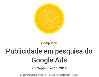 Certificação de Publicidade em Pesquisa do Google Ads